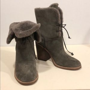 UGG jerene heel bootie size 9 grey in box with bag